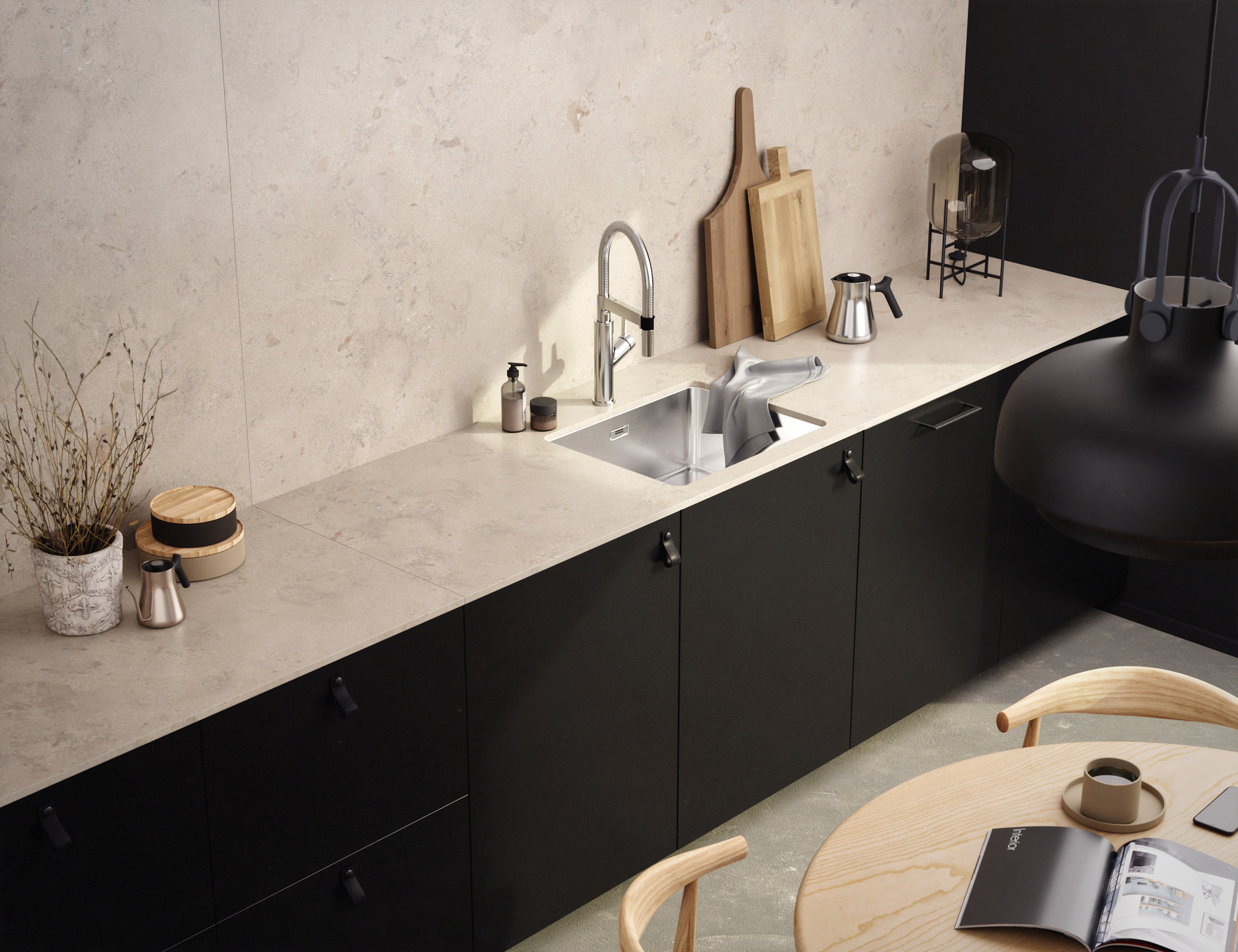 Limestone Black Kitchen